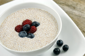Bowl of chia cereal with berries