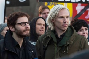 "Truth seekers Julian Assange (Benedict Cumberbatch, right) and Daniel Domscheit-Berg (Daniel Brühl, left) look to expose government and corporate corruption through their whistleblower web site, WikiLeaks, in the thrilling new docudrama, ""The Fifth Estate."" Photo by Frank Connor, courtesy © DreamWorks II Distribution Co., LLC."