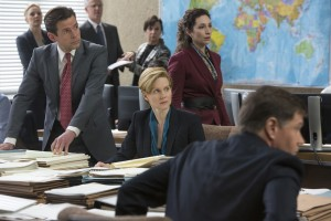 "Undersecretary of State Sarah Shaw (Laura Linney, center, seated) grows concerned over the increasingly sensitive revelations of the whistleblower web site WikiLeaks in the fact-based new release, ""The Fifth Estate."" Photo by Frank Connor, courtesy © DreamWorks II Distribution Co., LLC."