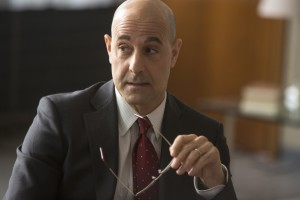 "Deputy Secretary of State James Boswell (Stanley Tucci) considers the ramifications of the revelations announced by the whistleblower web site WikiLeaks in director Bill Condon's engrossing new docudrama, ""The Fifth Estate."" Photo by Frank Connor, courtesy © DreamWorks II Distribution Co., LLC."