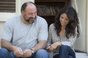 "Divorced masseuse Eva (Julia Louis-Dreyfus, right) and divorced museum curator Albert (James Gandolfini, left) make for an unlikely pair in the delightful new romantic comedy, ""Enough Said."" Photo courtesy of Fox Searchlight Pictures."