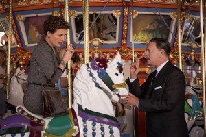"Mary Poppins author P.L. Travers (Emma Thompson, left) and movie industry icon Walt Disney (Tom Hanks, right) lock horns over the film rights to the writer's beloved children's books in the charming new docudrama, ""Saving Mr. Banks."" Photo by François Duhamel, © Disney Enterprises, Inc."