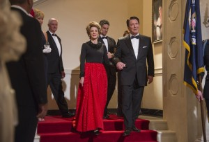 "Ronald Reagan (Alan Rickman, right), accompanied here by First Lady Nancy Reagan (Jane Fonda, left), would be the last of seven Presidents served by long-time White House domestic Cecil Gaines in ""Lee Daniels' The Butler."" Photo courtesy of The Weinstein Co."