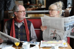 """Middle class English couple Nick (Jim Broadbent, left) and Meg Burrows (Lindsay Duncan, right) celebrates a bittersweet 30th wedding anniversary in Paris in the lively new romantic comedy-drama, """"Le Week-End."""" Photo courtesy of Music Box Films."""