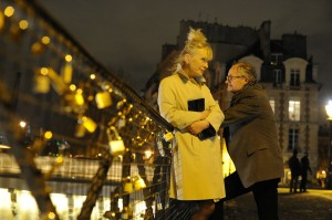 """The sights of Paris provide a colorful backdrop for the bittersweet 30th wedding anniversary celebration of middle class English couple Nick (Jim Broadbent, right) and Meg Burrows (Lindsay Duncan, left) in director Roger Michell's new romantic comedy-drama, """"Le Week-End."""" Photo courtesy of Music Box Films."""