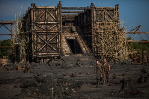 "Building a giant ark to spare the earth's animals during an impending global flood is the task charged to the virtuous Noah (Russell Crowe, right) and his family, including son Ham (Logan Lerman, left), in director Darren Aronofsky's epic new release, ""Noah."" Photo by Niko Tavernise, courtesy of Paramount Pictures and Regency Enterprises."