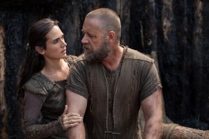 "Husband and wife Noah (Russell Crowe, right) and Naameh (Jennifer Connelly, left) provide support for one another during their enormous, sacred task in director Darren Aronofsky's ""Noah."" Photo by Niko Tavernise, courtesy of Paramount Pictures and Regency Enterprises."