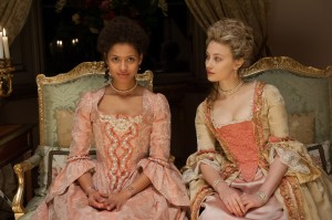"""Cousins and confidantes Dido Elizabeth Belle (Gugu Mbatha-Raw, left) and Elizabeth Murray (Sarah Gadon, right) share a personal moment in the new period piece drama, """"Belle."""" Photo courtesy of Fox Searchlight Pictures."""