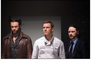 "In an effort to stave off a protracted planetary conflict, time-traveling X-Man Wolverine (Hugh Jackman, left) seeks assistance from the younger selves of two of his future colleagues, Professor X (James McAvoy, right) and Magneto (Michael Fassbender, center), in ""X-Men: Days of Future Past."" Photo by Alan Markfield, courtesy of Twentieth Century Fox Film Corporation."