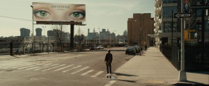 """A New York City billboard is one of many intriguing synchronicities responsible for drawing together separated lovers in the captivating new sci-fi romance, """"I Origins."""" Photo courtesy of Fox Searchlight Pictures."""