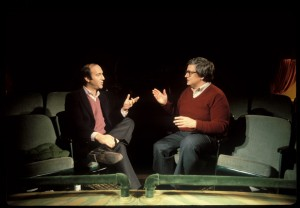 """Film critics Roger Ebert (right) and Gene Siskel (left) take on one another during one of their many televised movie review duels in director Steve James's engaging new documentary, """"Life Itself."""" Photo by Kevin Horan, courtesy of Magnolia Pictures."""