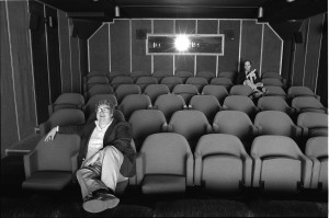 """Film critics Roger Ebert (left) and Gene Siskel (right) screen a picture for review in director Steve James's """"Life Itself."""" Photo by Kevin Horan, courtesy of Magnolia Pictures."""