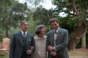 "Psychic debunker Stanley Crawford (Colin Firth, right) journeys to the south of France on an assignment at the behest of his colleague, Howard Burkan (Simon McBurney, left), a trip that also gives him an opportunity to visit his beloved Aunt Vanessa (Eileen Atkins, center), in director Woody Allen's new romantic comedy, ""Magic in the Moonlight."" Photo by Jack English © 2014 Gravier Productions, courtesy of Sony Pictures Classics."