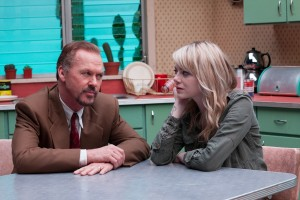"Patching up a troubled parental relationship is a goal for aspiring Broadway actor Riggan Thomson (Michael Keaton, left) and his daughter, Sam (Emma Stone, right), in director Alejandro González Iñárritu's ""Birdman or (The Unexpected Virtue of Ignorance).""  Photo courtesy of Fox Searchlight Pictures."