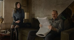 "The on-again/off-again romance between actor Riggan Thomson (Michael Keaton, right) and his co-star, Laura (Andrea Riseborough, left), is one of many troubled relationships associated with a new Broadway production in ""Birdman or (The Unexpected Virtue of Ignorance)."" Photo courtesy of Fox Searchlight Pictures."