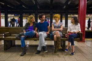 "In an uncomfortable moment, novelist Xavier Rousseau (Romain Duris, second from left) attempts to keep his cool when confronted by the women in his life, including his ex-wife, Wendy (Kelly Reilly, second from right), his old frame, Martine (Audrey Tautou, right), and his lesbian pal, Isabelle (Cécile de France, left), in the independent comedy, ""Chinese Puzzle,"" now available on video on-demand and coming soon to Blu-ray disk. Photo courtesy of Cohen Media Group."