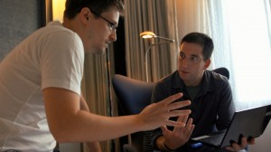 "National Security Agency whistleblower Edward Snowden (left) is interviewed by journalist Glenn Greenwald (right) of the United Kingdom's Guardian newspaper in a Hong Kong hotel room in the new documentary, ""Citizenfour."" Photo courtesy of RADiUS-TWC."