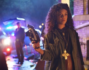 """Media arts major Samantha White (Tessa Thompson) seeks to define her conflicted racial and personal identity in director Justin Simien's debut feature, """"Dear White People."""" Photo by Ashley Nguyen, courtesy of Roadside Attractions."""