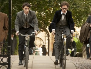 "Stephen Hawking (Eddie Redmayne, right), an aspiring doctoral candidate in cosmology at England's Cambridge University, enjoys a bicycle outing with his friend, Brian (Harry Lloyd, left), not realizing it may be one of his last, in director James Marsh's ""The Theory of Everything."" Photo by Liam Daniel, courtesy of Focus Features."