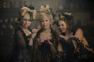 """An evil stepmother (Christine Baranski, center) and her two daughters (Lucy Punch, left, and Tammy Blanchard, right) routinely fulfill their own desires at the expense of the household's youngest and most vulnerable member, Cinderella (Anna Kendrick, not pictured), in the charming Stephen Sondheim musical, """"Into the Woods."""" Photo by Peter Mountain, courtesy of Disney Enterprises, Inc."""