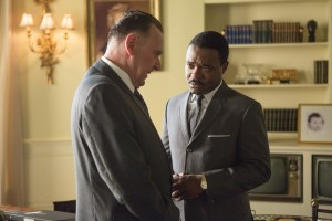 "Tense exchanges between civil rights leader Dr. Martin Luther King, Jr. (David Oyelowo, right) and President Lyndon B. Johnson (Tom Wilkinson, left) characterize the meetings between these two towering public figures in director Ava Duvernay's impressive new docudrama, ""Selma."" Photo by Atsushi Nishijima, courtesy of Paramount Pictures."