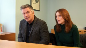 "With the support of her husband, John (Alec Baldwin, left), Dr. Alice Howland (Julianne Moore, right) learns what she's up against in her struggle with Early Onset Alzheimer's Disease in ""Still Alice."" Photo by Denis Lenoir, courtesy of Sony Pictures Classics."