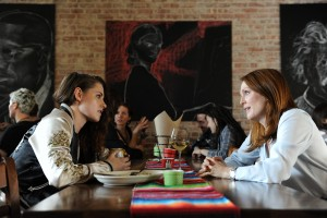 "Dr. Alice Howland (Julianne Moore, right) counsels her daughter, Lydia (Kristen Stewart, left), an aspiring actress, in the dramatic new release, ""Still Alice."" Photo by Jojo Whilden, courtesy of Sony Pictures Classics."