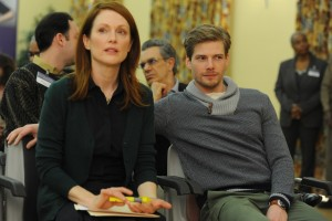 "A loving son, Tom Howland (Hunter Parrish, right), supports his ailing mother, Alice (Julianne Moore, left), in ""Still Alice."" Photo by Jojo Whilden, courtesy of Sony Pictures Classics."