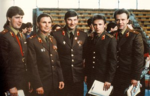 "The Soviet national hockey squad – the Red Army team – dominated the world of international tournament play for decades through the efforts (from left) of defenseman Alex Kasatanov, coach Viktor Tikhonov, goalie Vladislav Tretiak, forward Igor Larionov and defenseman Viacheslav ""Slava"" Fetisov. The team's story is the subject of the engaging new documentary, ""Red Army."" Photo courtesy of Slava Fetisov/Sony Pictures Classics."