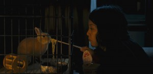 """Caring for her pet rabbit, Bunzo, is one of life's few pleasures for Kumiko (Rinko Kikuchi), a would-be fortune hunter bored with her existence, in the Zellner Brothers' unusual new release, """"Kumiko, the Treasure Hunter."""" Photo by Sean Porter, courtesy of Amplify Releasing."""
