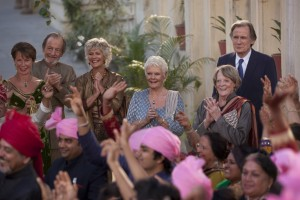 """The permanent residents of the Marigold Hotel (from left, Celia Imrie, Ronald Pickup, Diana Hardcastle, Judi Dench, Maggie Smith, Bill Nighy) enjoy a festive occasion in their return to the screen in the delightful comedy sequel, """"The Second Best Exotic Marigold Hotel."""" Photo courtesy of Fox Searchlight Pictures."""