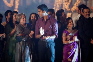 """Marigold Hotel owner Sonny Kapoor (Dev Patel, center) and manager Muriel Donnelly (Maggie Smith, left) look to expand their operations in director John Madden's """"The Second Best Exotic Marigold Hotel."""" Photo courtesy of Fox Searchlight Pictures."""