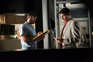 """Gabe Ruskin (Wes Bentley, left) and his brother, Rich (James Marsden, right), co-owners of an infomercial production company, receive an unusual – and lucrative – request for their services in the new dark comedy, """"Welcome to Me."""" Photo courtesy of Alchemy."""