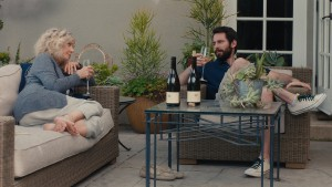 """Retiree Carol Petersen (Blythe Danner, left) finds an unlikely drinking buddy in her new pool man, Lloyd (Martin Starr, right), an aspiring but directionless musician, in """"I'll See You in My Dreams."""" Photo courtesy of Bleecker Street Media."""