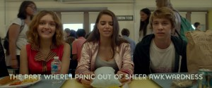 "When Greg Gaines (Thomas Mann, right) is faced with a dearth of ideas on how to cheer up his ill friend, Rachel (Olivia Cooke, left), he receives an interesting proposal from her friend, Madison (Katherine C. Hughes, center), in ""Me and Earl and the Dying Girl."" Photo courtesy of Fox Searchlight Pictures."