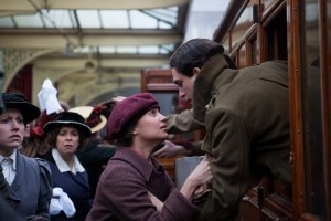 "Student-turned-peace activist Vera Brittain (Alicia Vikander, left) bids a tearful farewell to her handsome suitor, Roland Leighton (Kit Harington, right), as he goes off to fight in World War I in the affecting new historical memoir, ""Testament of Youth."" Photo by Laurie Sparham, courtesy of Sony Pictures Classics."