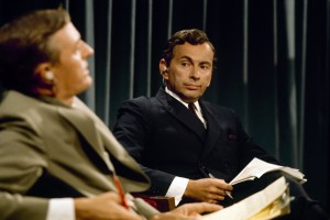 "Liberal political commentator Gore Vidal (right) and conservative pundit William F. Buckley Jr. (left) prepare to debate one another during ABC television's inventive coverage of the 1968 presidential nominating conventions, as seen in the humorous but unsettling new documentary, ""Best of Enemies."" Photo courtesy of Magnolia Pictures."