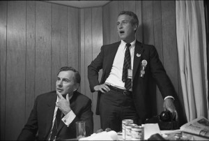 "Liberal political commentator Gore Vidal (left) and actor Paul Newman (right), a delegate to the 1968 Democratic National Convention, look on in horror at television coverage of demonstrations in the streets of Chicago in the provocative new documentary, ""Best of Enemies."" Photo courtesy of Magnolia Pictures."