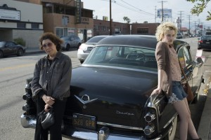 "Writer-lecturer Elle Reid (Lily Tomlin, left) and her granddaughter, Sage (Julia Garner, right), set off on a journey of fundraising – and self-discovery – in the entertaining new comedy-drama, ""Grandma."" Photo by Glen Wilson, courtesy of Sony Pictures Classics."