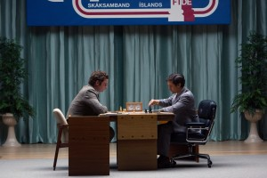 "With the stage set in Reykjavik, Iceland, American chess champion Bobby Fischer (Tobey Maguire, right) prepares to take on Russian and world champion Boris Spassky (Liev Schreiber, left) in a high-stakes tournament in ""Pawn Sacrifice."" Photo by Takashi Seida, courtesy of Bleecker Street Media."