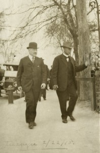 """Sears Roebuck president Julius (""""J.R."""") Rosenwald (left) meets with one of the inspirations of his philanthropic efforts, educator and inventor Booker T. Washington (right), at Alabama's Tuskegee Institute in 1915, as depicted in director Aviva Kempner's new documentary, """"Rosenwald."""" Photo courtesy of Special Collections Research Center, University of Chicago Library."""