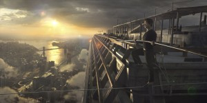"High-wire artist Philippe Petit (Joseph Gordon-Levitt) prepares to embark on the unimaginable feat of traversing the space between the Twin Towers of New York's World Trade Center, 110 stories above the ground, in the thrilling new historical drama, ""The Walk."" Photo courtesy of TriStar Pictures, © 2015 CTMG, Inc."