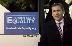 "Gay rights activist Steven Goldstein (Steve Carell) leads an enthusiastic campaign to secure equal benefits for same-sex couples in New Jersey in ""Freeheld."" Photo by courtesy of Summit Entertainment."