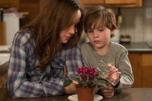 """An uncommon bond is forged between a mother (Brie Larson, left) and son (Jason Tremblay, right) when confined within a 10-foot by 10-foot space in the gripping new thriller, """"Room."""" Photo by George Kraychyk, courtesy of A24 Films."""