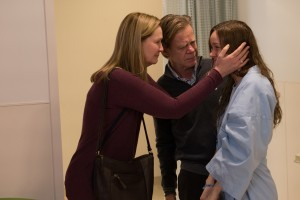 """In happier times, Joy Newsome (Brie Larson, right), an unwitting captive, shares a moment with her parents, Nancy (Joan Allen, left) and Robert (William H. Macy, center), in director Lenny Abrahamson's latest release, """"Room."""" Photo by George Kraychyk, courtesy of A24 Films."""
