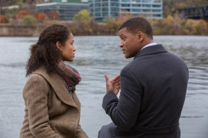 "Embattled medical researcher Dr. Bennet Omalu (Will Smith, right) draws strength for his efforts from his loving, supportive wife, Prema (Gugu Mbatha-Raw, left), in the gripping new fact-based drama, ""Concussion."" Photo by Melinda Sue Gordon, courtesy © Columbia Pictures Industries, Inc."