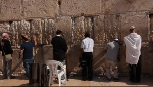 """Pilgrims pray at Jerusalem's sacred Western Wall, as depicted in the documentary, """"Kabbalah Me."""" Photo courtesy of First Run Features."""