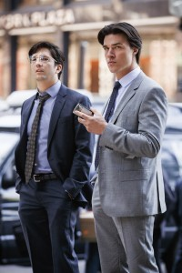 """A pair of financial Young Turks, Charlie Geller (John Magaro, right) and Jamie Shipley (Finn Wittrock, left), move from Colorado to New York to seek their fortune in """"The Big Short."""" Photo by Jaap Buttendijk, courtesy © Paramount Pictures."""