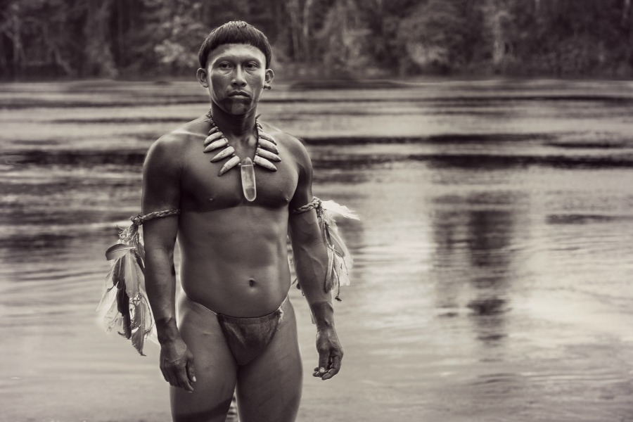 """Amazonian shaman Karamakate (Nilbio Torres) leads a pair of Western explorers into the heart of the Colombian rainforest – and a journey of self-discovery – in the Oscar-nominated epic, """"Embrace of the Serpent."""" Photo courtesy of Oscilloscope Laboratories."""