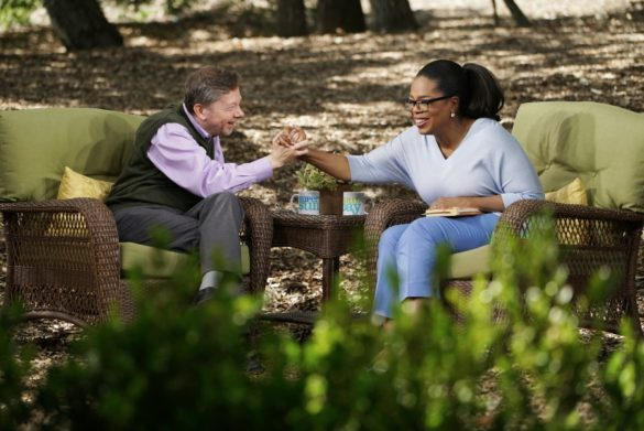 Oprah Winfrey with Eckhart Tolle on Super Soul Sunday.